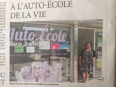 Article de journal sur l'auto-école Marie-Jeanne dans le Direct Matin