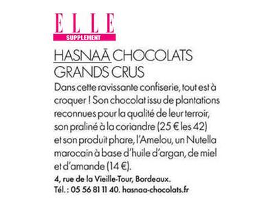 Elle supplément et son article sur Hasnaâ Chocolats Grands Crus