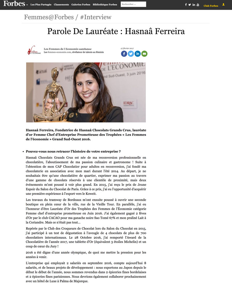 Notre créatrice Hasnaâ dans Forbes (photo 1)