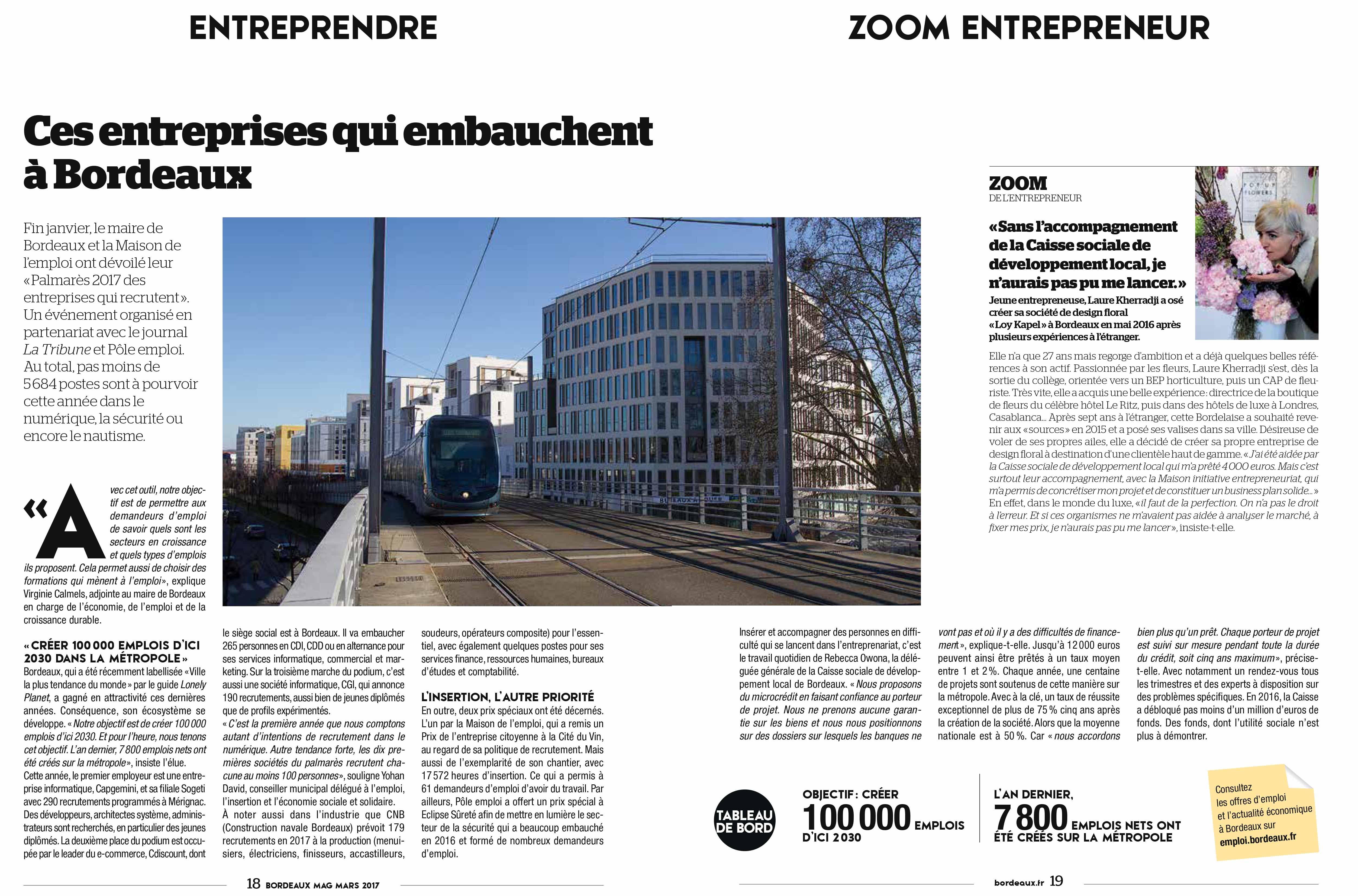 La CSDL citée et la maison Loy Kapel dans le Bordeaux Mag