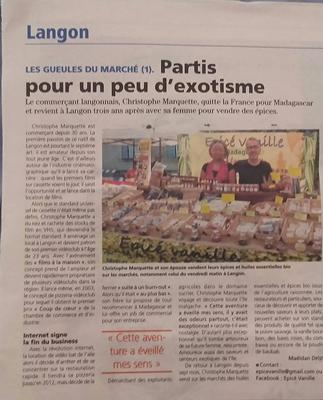 Article de journal sur Epicé Vanille, créateur CSDL