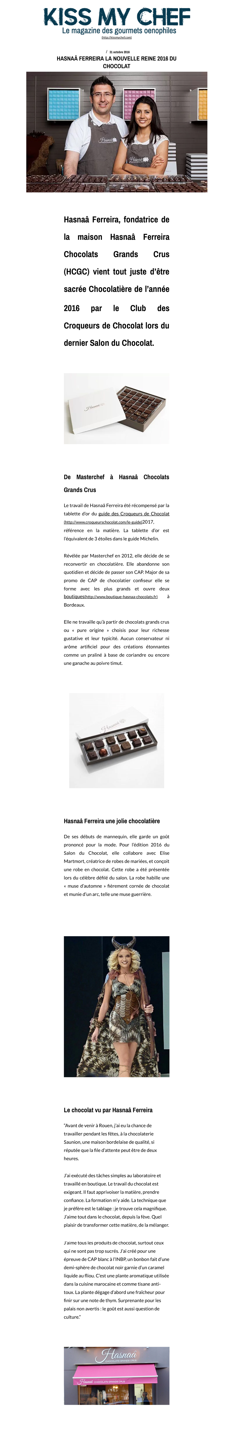 Article de journal de Hasnaâ Chocolateries Grands Crus