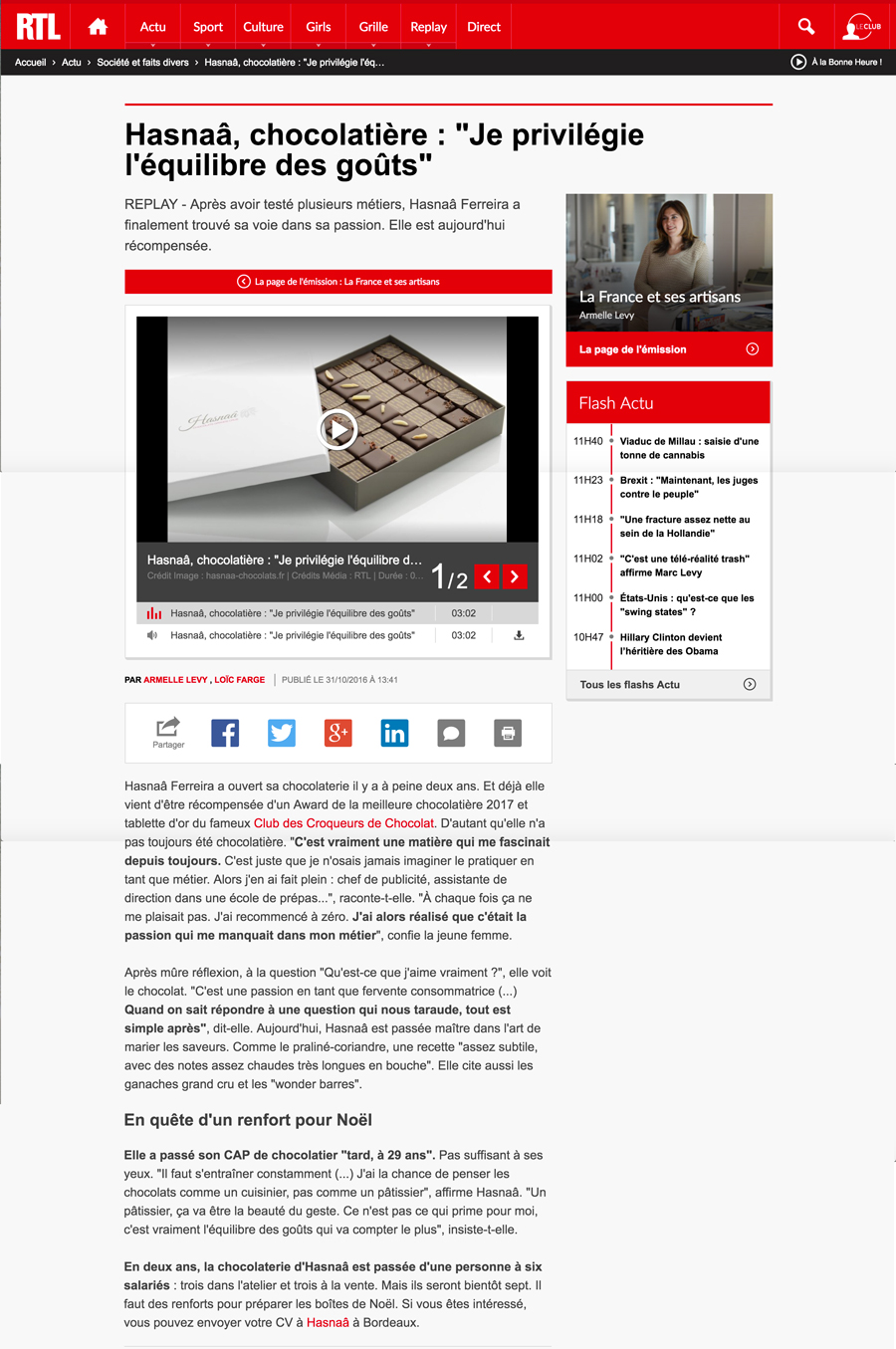Article de journal RTL de Hasnaâ Chocolats Grands Crus