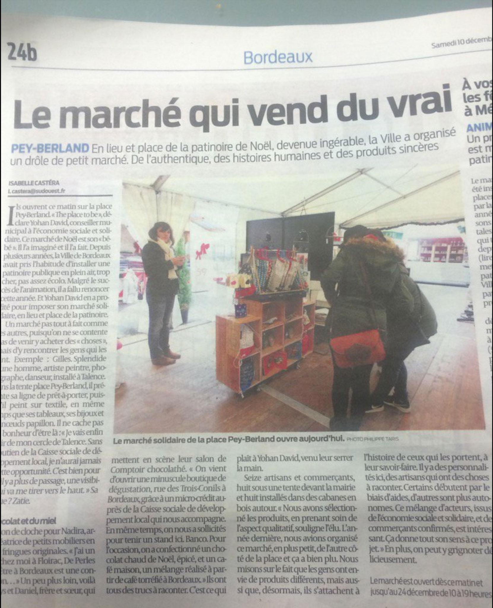 Article de journal du Sud Ouest sur le marché de Noël solidaire de Pey Berland à Bordeaux